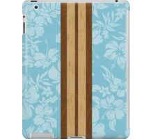 Sunset Beach Hawaiian Faux Koa Wood Surfboard - Aqua iPad Case/Skin