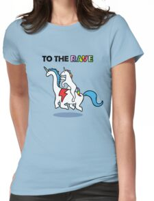 To The Rave! (Unicorn Riding Dinocorn) Womens Fitted T-Shirt