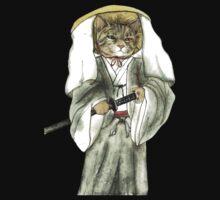 A Halfing Samurai Cat with One Green Eye and One Yellow Eye Kids Tee