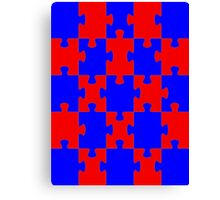 Red and Blue Puzzle Canvas Print
