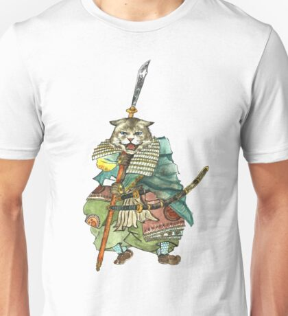 A Halfing Samurai Cat with a Spear and 2 Swords Unisex T-Shirt