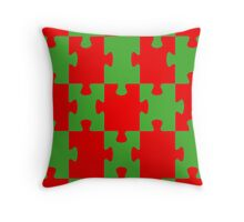 Red and Green Puzzle Throw Pillow