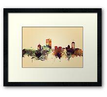 Vintage Boston Skyline, Massachusetts Watercolor Cityscape Framed Print