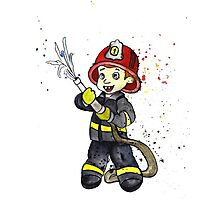 Fireman Boy Photographic Print