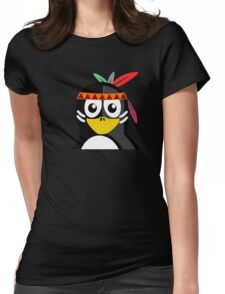 Penguin as Native American  Womens Fitted T-Shirt