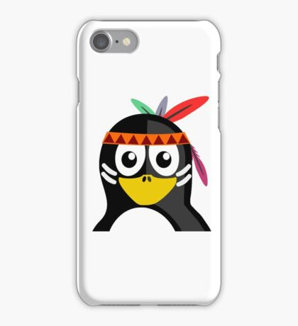 Penguin as Native American  iPhone Case/Skin