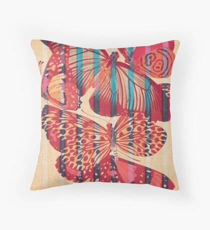 Butterflies in Strips Throw Pillow