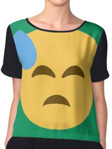 Face with cold sweat Chiffon Top