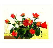 Still life ... roses in vase Art Print