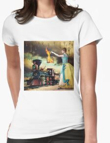 Flagging Down the Train Womens Fitted T-Shirt