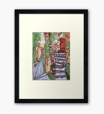 Ancient Crumbling Stone Steps Framed Print
