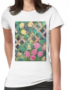 Old Trellis Roses Womens Fitted T-Shirt
