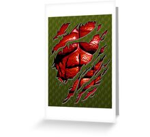 Red muscle chest in green ripped torn tee Greeting Card