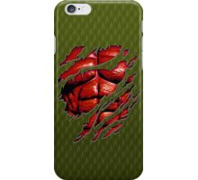 Red muscle chest in green ripped torn tee iPhone Case/Skin