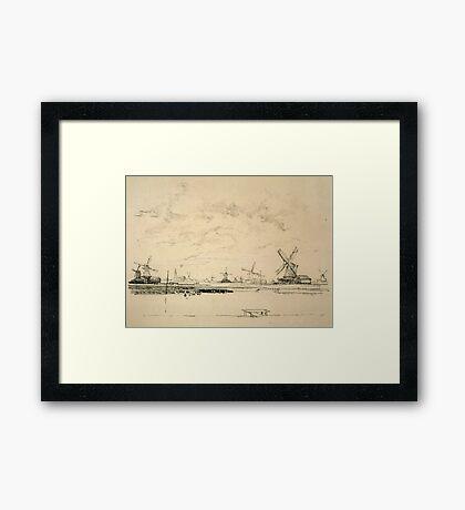 Vintage Sketch of Windmills Framed Print
