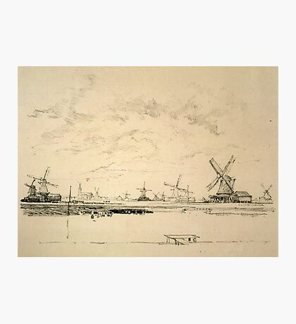 Vintage Sketch of Windmills Photographic Print