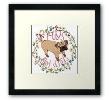 Pugs Not Drugs - Floral Framed Print