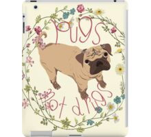 Pugs Not Drugs - Floral iPad Case/Skin