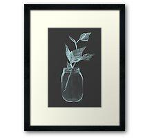 Leaves in a jar watercolor illustration. Framed Print
