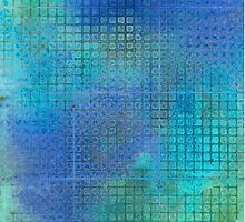 Watercolor Abstraction: Blue Grid Texture by Megan  Koth
