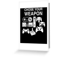 Chose Your Weapon Retro Video Game Console Controllers Graphic Design Greeting Card