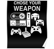 Chose Your Weapon Retro Video Game Console Controllers Graphic Design Poster