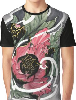Watercolour Japanese Peony Graphic T-Shirt
