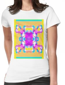 colorful skull head with glasses and mustache and yellow background Womens Fitted T-Shirt