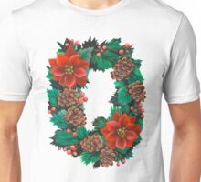 Wreath with cones and poinsettia Unisex T-Shirt