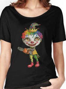 creepy clown with chainsaw Women's Relaxed Fit T-Shirt
