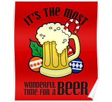 Christmas It's The Most Wonderful Time For A Beer Design Poster