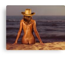 Naked woman sitting at the beach on sand art photo print Canvas Print