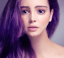 Young woman anime style beauty portrait with large eyes and purple hair art photo print by ArtNudePhotos