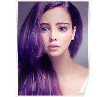 Young woman anime style beauty portrait with large eyes and purple hair art photo print Poster