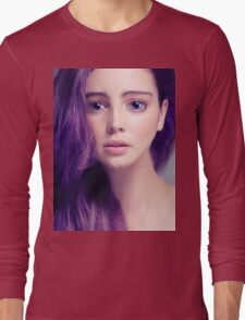 Young woman anime style beauty portrait with large eyes and purple hair art photo print Long Sleeve T-Shirt