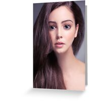 Young woman anime style beauty portrait with beautiful large gray eyes art photo print Greeting Card