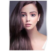 Young woman anime style beauty portrait with beautiful large gray eyes art photo print Poster