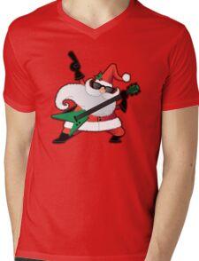 Rock Star Santa Claus Mens V-Neck T-Shirt