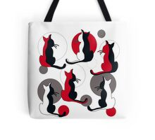 Abstract red cats  Tote Bag
