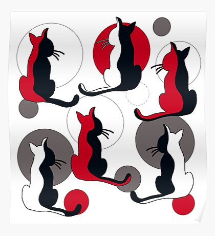 Abstract red cats  Poster