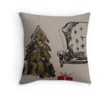 Golden Christmas tree Throw Pillow