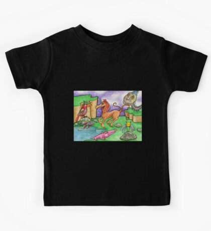 surreal landscape with magical creatures Kids Tee
