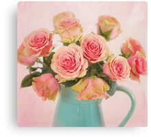 A bouquet of Salmon Roses in a Teal Vase Canvas Print