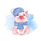 Piglet. Winter by Gribanessa