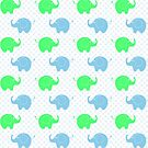 Cute Blue and Green Elephants by purplesensation