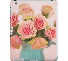 A bouquet of Salmon Roses in a Teal Vase iPad Case/Skin