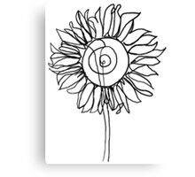One Line - Sunflower Canvas Print