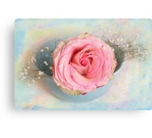 Single Pink Rose in a pastel blue bowl Canvas Print