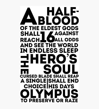 Percy Jackson and the Olympians - The Great Prophecy  Photographic Print