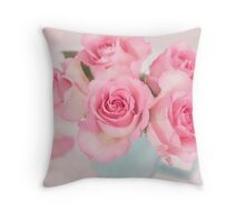 Pink Roses In Full Bloom Throw Pillow